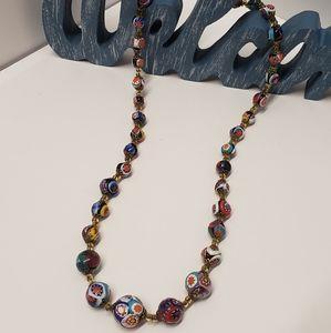 Unique Vintage Glass Beaded Necklace